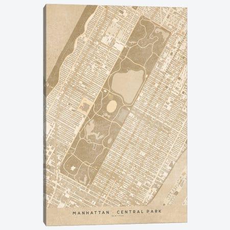 Vintage Sepia New York Central Park Map Canvas Print #RLZ119} by blursbyai Art Print