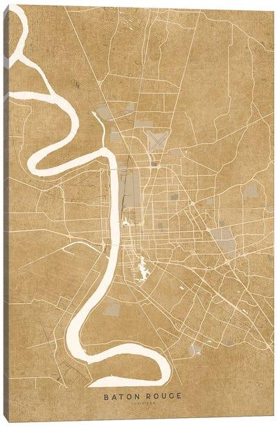 Vintage Sepia Baton Rouge Map Canvas Art Print