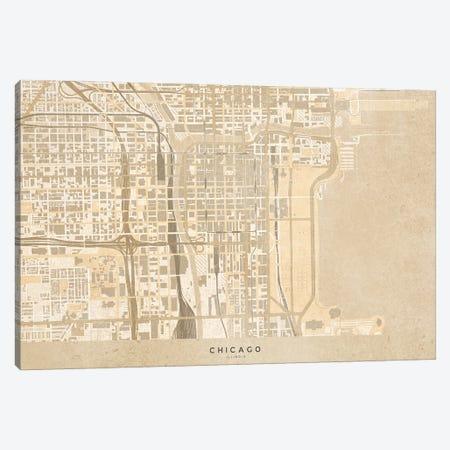 Vintage Sepia Map Chicago Downtown Canvas Print #RLZ122} by blursbyai Canvas Wall Art