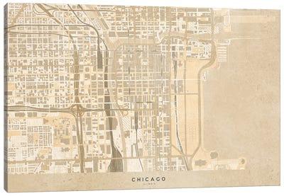 Vintage Sepia Map Chicago Downtown Canvas Art Print