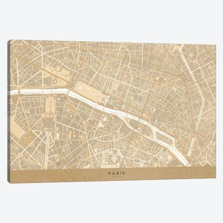 Vintage Sepia Map Of Paris Canvas Print #RLZ123} by blursbyai Canvas Wall Art