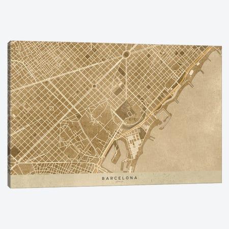 Vintage Sepia Map Of Barcelona Downtown Canvas Print #RLZ124} by blursbyai Canvas Art Print