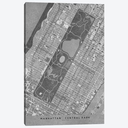 Vintage Grayscale Map Of New York Central Park Canvas Print #RLZ126} by blursbyai Canvas Art Print