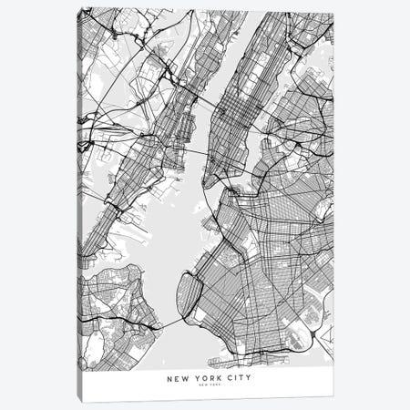 Scandinavian Style Map Of New York City Canvas Print #RLZ127} by blursbyai Canvas Art Print