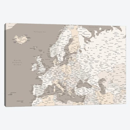 Brown Map Of Europe With Cities Canvas Print #RLZ142} by blursbyai Canvas Art