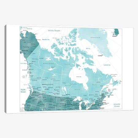 Map Of Canada In Teal Canvas Print #RLZ143} by blursbyai Canvas Artwork