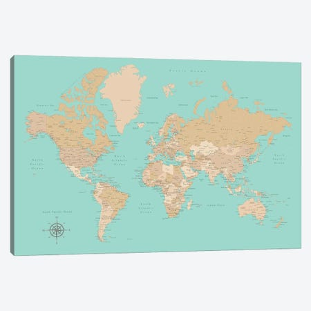 Vintage Style Teal And Brown World Map With Cities Canvas Print #RLZ150} by blursbyai Canvas Art Print