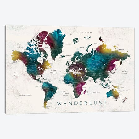 Wanderlust Charleena Detailed Watercolor World Map With Cities Canvas Print #RLZ152} by blursbyai Canvas Print