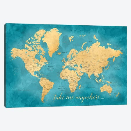 Take Me Anywhere Gold And Teal Detailed World Map Canvas Print #RLZ154} by blursbyai Canvas Artwork