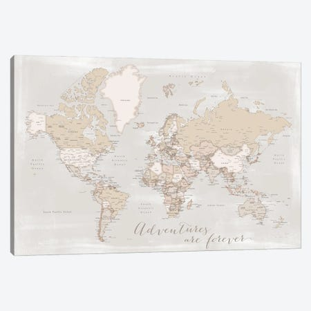Rustic Detailed World Map Lucille, Adventures Are Forever Canvas Print #RLZ156} by blursbyai Canvas Art