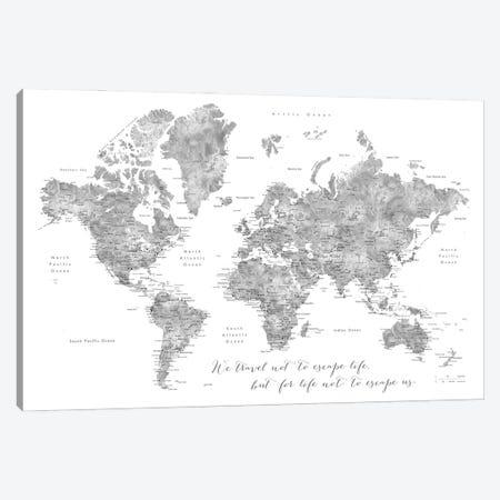 Detailed Watercolor World Map, Jimmy, Escape Life Canvas Print #RLZ159} by blursbyai Art Print