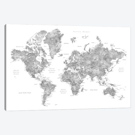 Grayscale Watercolor Detailed World Map With Cities, Jimmy Canvas Print #RLZ160} by blursbyai Canvas Artwork