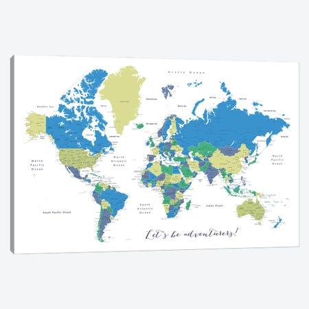 Let's Be Adventurers Detailed World Map Canvas Print #RLZ161} by blursbyai Canvas Artwork