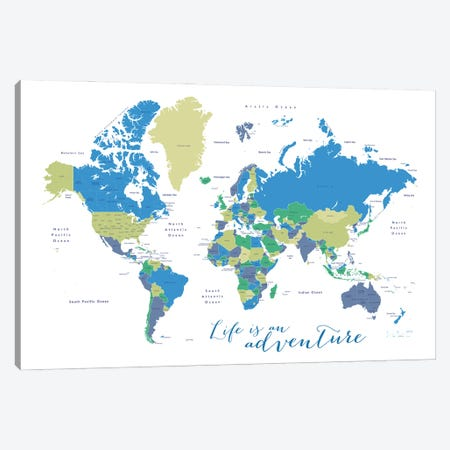 Life Is An Adventure World Map In Green And Blue Canvas Print #RLZ163} by blursbyai Canvas Wall Art