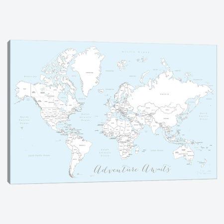 Adventure Awaits World Map In Baby Blue And White Canvas Print #RLZ165} by blursbyai Art Print