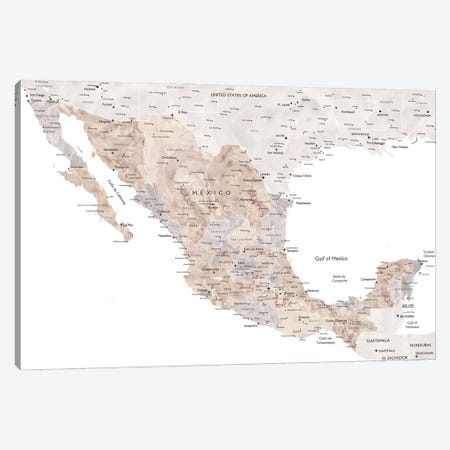 Detailed Watercolor World Map Of Mexico With Cities Canvas Print #RLZ166} by blursbyai Canvas Print