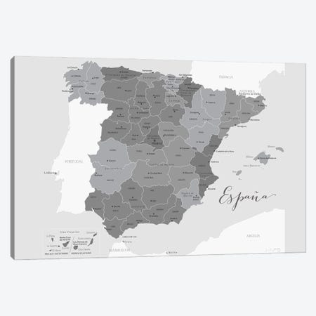 Gray Map Of Spain With Provinces And Province Capitals Canvas Print #RLZ168} by blursbyai Canvas Wall Art