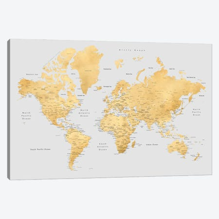 Detailed World Map In Gold And Grey, Everly Canvas Print #RLZ170} by blursbyai Art Print