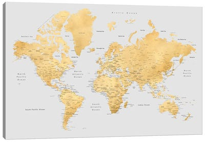 Detailed World Map In Gold And Grey, Everly Canvas Art Print