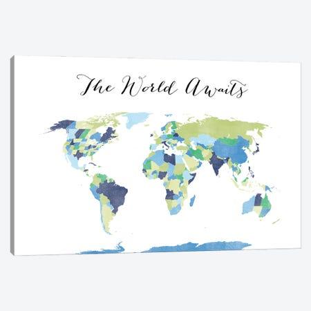 The World Awaits World Map Canvas Print #RLZ182} by blursbyai Canvas Art