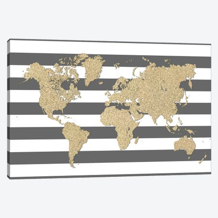 Glitter And Stripes World Map Canvas Print #RLZ184} by blursbyai Art Print