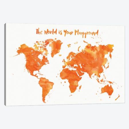 Orange Watercolor Nursery World Map Canvas Print #RLZ186} by blursbyai Canvas Art Print