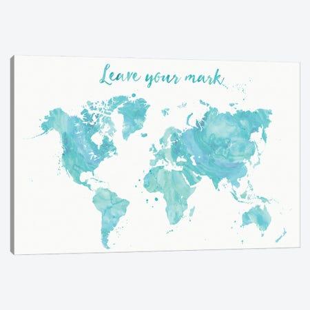 Leave Your Mark Aquamarine Watercolor World Map Canvas Print #RLZ187} by blursbyai Canvas Art Print