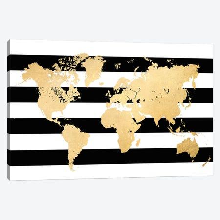 Gold And Black And White Stripes World Map Canvas Print #RLZ188} by blursbyai Canvas Wall Art