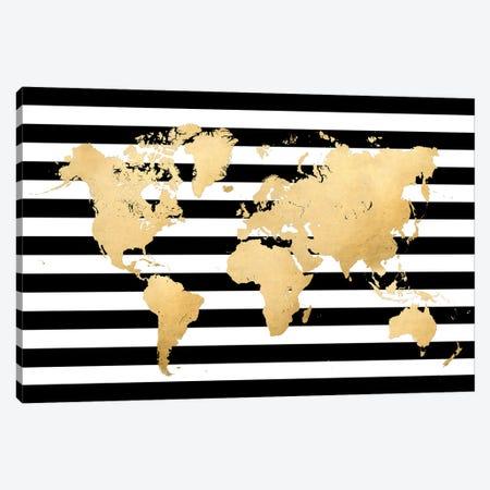 Gold, Black And White Stripes World Map Canvas Print #RLZ189} by blursbyai Canvas Wall Art