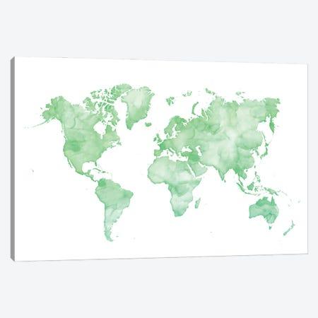 Green Watercolor World Map Canvas Print #RLZ192} by blursbyai Canvas Print