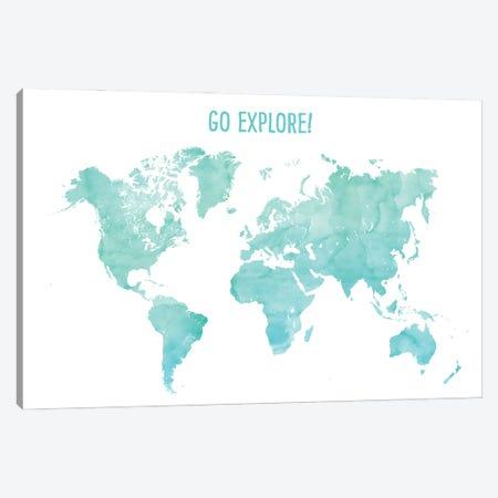 Go Explore World Map In Aquamarine Canvas Print #RLZ193} by blursbyai Art Print