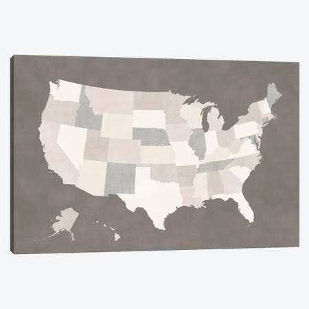 Brown And Cream Map Of The Us Canvas Print #RLZ194} by blursbyai Canvas Wall Art