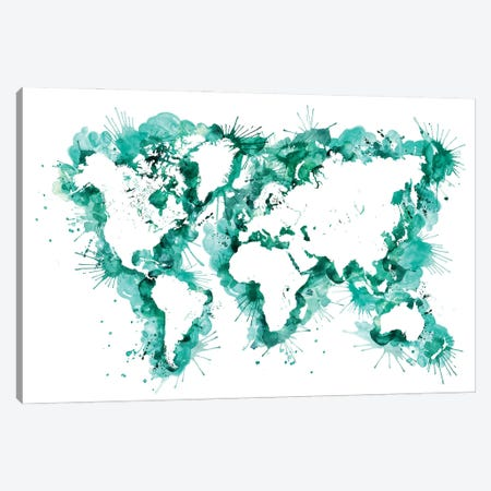 Teal Watercolor Splatters World Map Canvas Print #RLZ195} by blursbyai Canvas Artwork