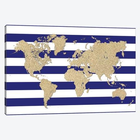 Glitter And Blue Stripes World Map Canvas Print #RLZ196} by blursbyai Canvas Artwork