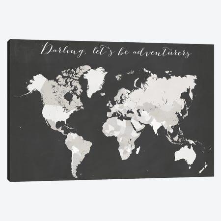 Darling Lets Be Adventurers World Map Canvas Print #RLZ197} by blursbyai Canvas Artwork