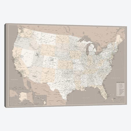 Highly Detailed Map Of The Us With Roads In Brown Canvas Print #RLZ199} by blursbyai Canvas Art Print