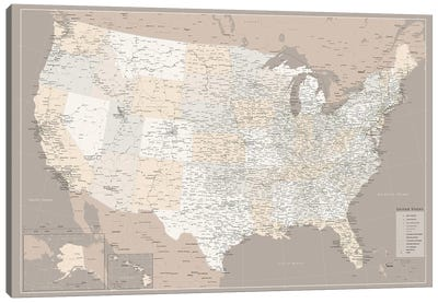 Highly Detailed Map Of The Us With Roads In Brown Canvas Art Print