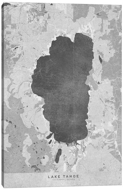 Gray Vintage Lake Tahoe Map Canvas Art Print