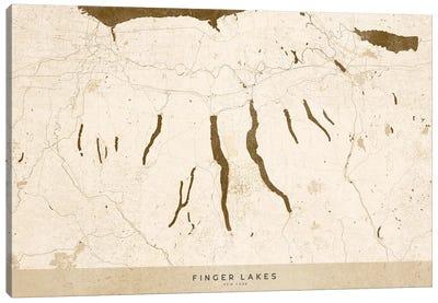 Sepia Vintage Finger Lakes Ny Map Canvas Art Print