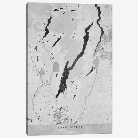 Gray Vintage Map Of Lake George Ny Canvas Print #RLZ204} by blursbyai Canvas Wall Art
