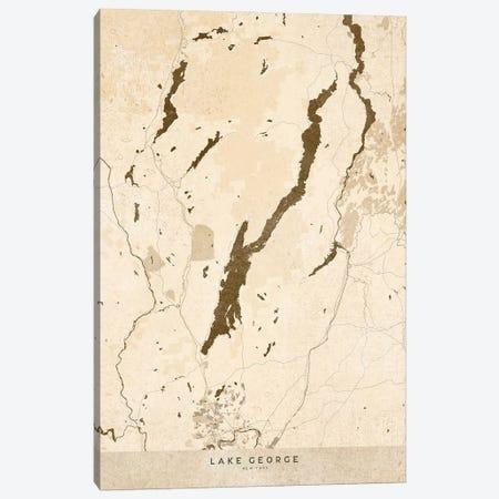 Sepia Vintage Map Of Lake George Ny Canvas Print #RLZ205} by blursbyai Canvas Art