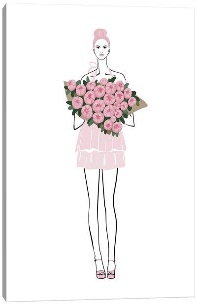 Pink Peony Girl Fashion Illustration Canvas Art Print
