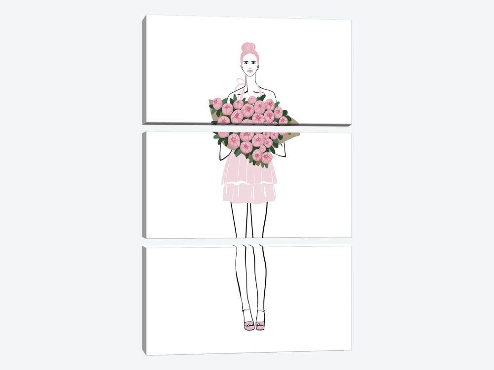 Pink Peony Girl Fashion Illustration by blursbyai 3-piece Canvas Print