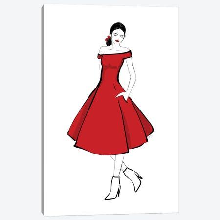 The Girl In The Red Midi Dress Fashion Illustration Canvas Print #RLZ207} by blursbyai Canvas Art