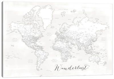 Wanderlust Detailed World Map Maelie White Canvas Art Print