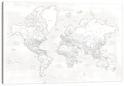 Detailed World Map Maeli White Canvas Art Print