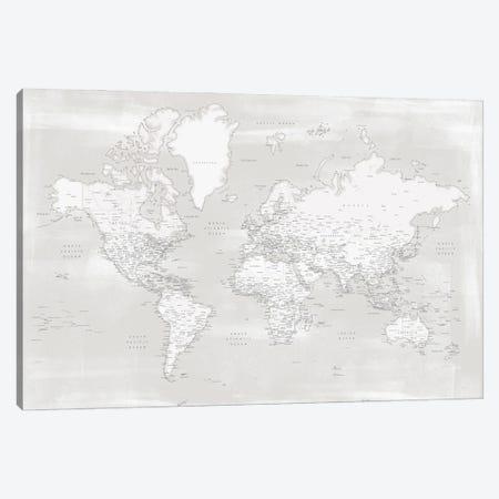 Rustic Farmhouse Style Detailed World Map Maeli Neutrals Canvas Print #RLZ220} by blursbyai Canvas Print