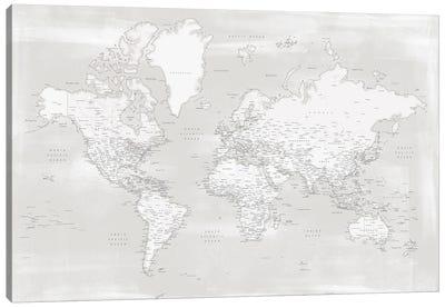 Rustic Farmhouse Style Detailed World Map Maeli Neutrals Canvas Art Print