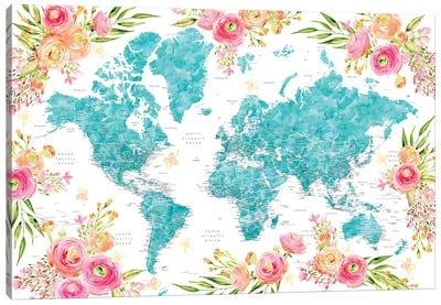 Detailed Colorful Floral World Map Halen Canvas Art Print