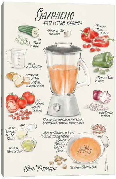 Illustrated Recipe Of Spanish Gazpacho In Spanish Canvas Art Print
